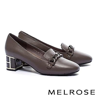 高跟鞋 MELROSE 典雅氣質鍊條設計特色鞋跟小牛皮高跟鞋-可可
