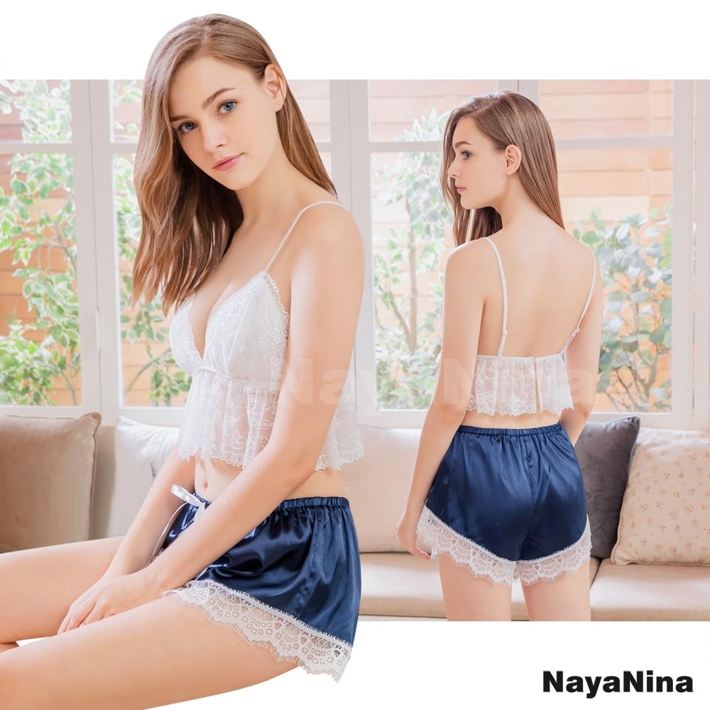 Naya Nina 清純花緹蕾絲小可愛衣短褲二件式套裝居家睡衣-粉F