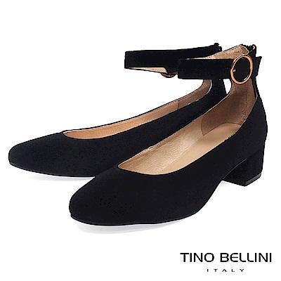 Tino Bellini 摩登俏麗繫踝低跟鞋 _ 黑