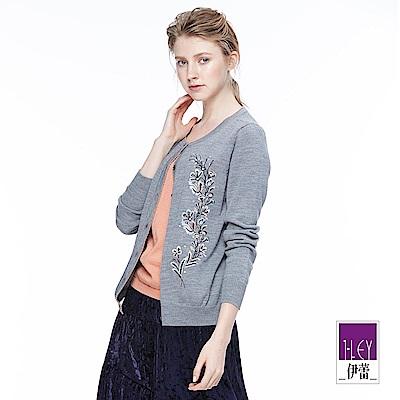 ILEY伊蕾 花卉刺繡假兩件針織上衣(灰/藍)