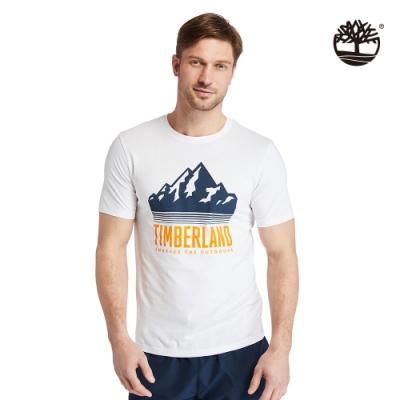 Timberland 男款白色風景圖有機棉短袖T恤 A24XE