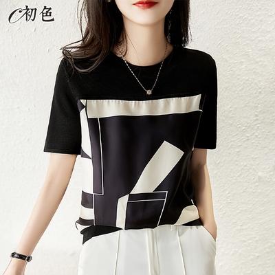初色  休閒拼接印花T恤-黑色-(M-2XL可選)