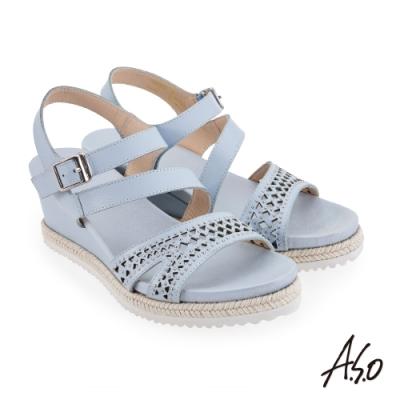 A.S.O 時尚流行 摩登時尚沖孔風格楔型涼鞋-粉藍