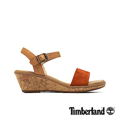 Timberland 女款橘紅一字繫帶楔型涼鞋|A1VBK