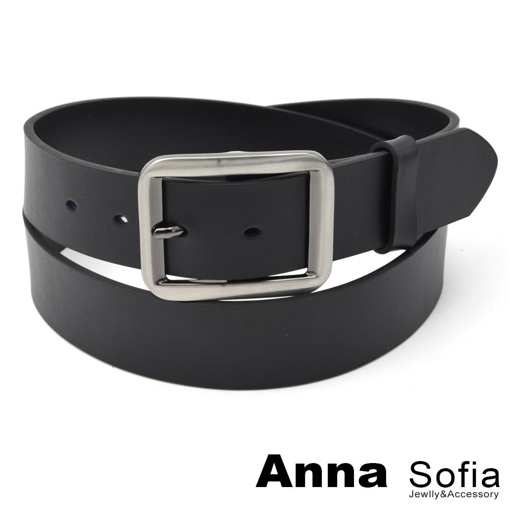AnnaSofia 中性寬版方釦 二層牛皮腰帶皮帶(酷黑)