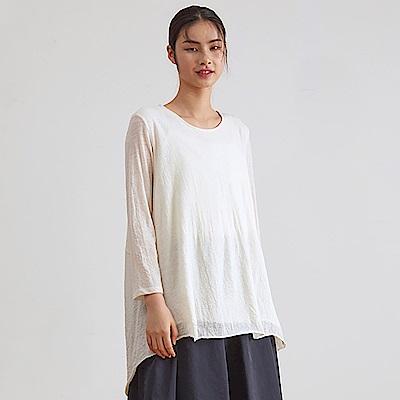 旅途原品_會呼吸_原創設計羊毛繭型寬鬆T恤-米白色