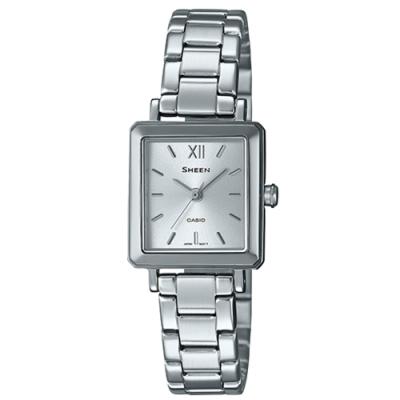 SHEEN 雅致方形三針顯示奢華素色銀鍊腕錶(SHE-4538D-7A)/21.6mm