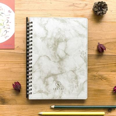 磊泰 戀戀風塵- A5/25K大理石紋滑動夾活頁本-方格橫線-20孔-塑條+銀-茶色