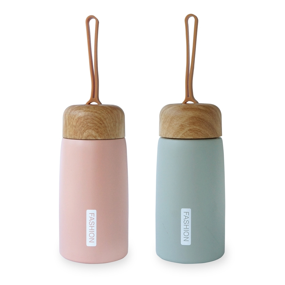Caldo卡朵生活 木紋蓋不鏽鋼保溫瓶260ML(附提把)(快)