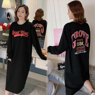 【韓國K.W.】(預購)簡約字母印花洋裝-1色