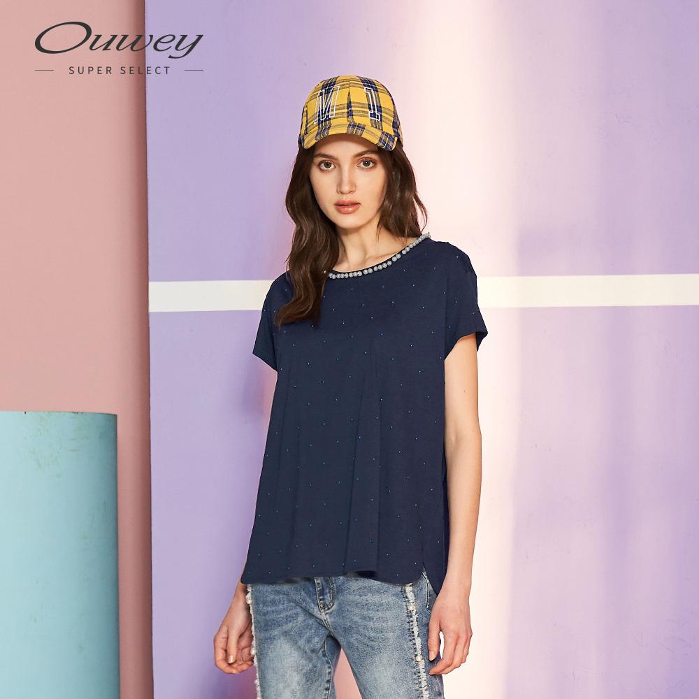 OUWEY歐薇 鑲珠飾休閒上衣(粉/藍)