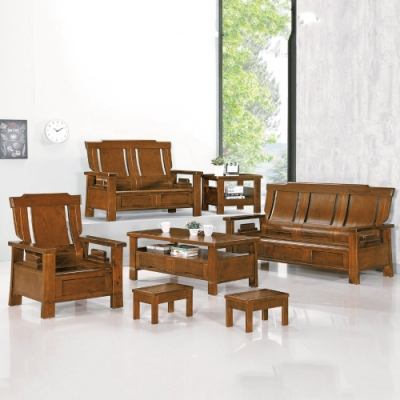 MUNA 3108型深柚木色實木組椅(全組)(附坐墊)  188X80X104cm