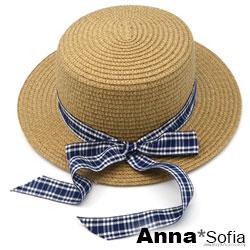 AnnaSofia 俏麗格紋綁帶 遮陽防曬淑女帽平頂圓草帽(咖駝系)