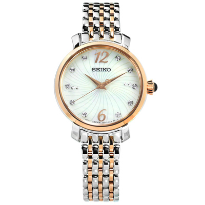 SEIKO 精工 珍珠母貝施華洛世奇晶鑽不鏽鋼手錶-銀x鍍玫瑰金/28mm
