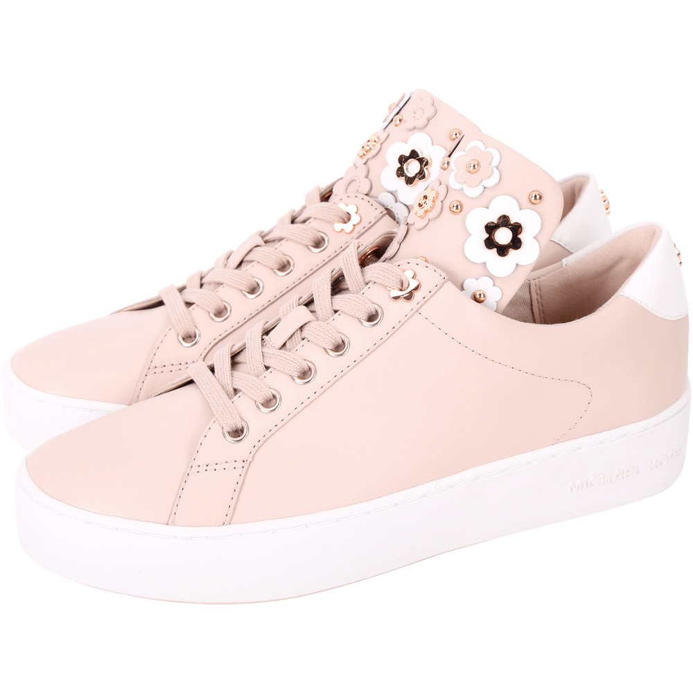 Michael Kors Mindy 立體花朵皮革繫帶滑板鞋(乾燥玫瑰色)