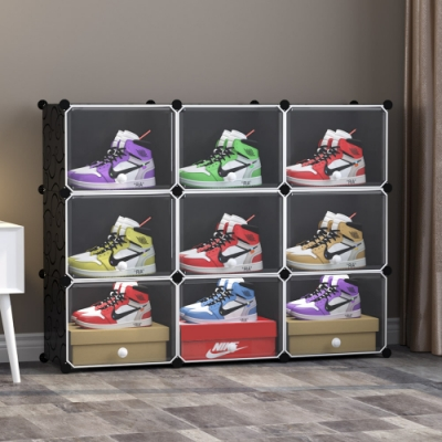 【Mr.box】9格9門籃球鞋防塵收納組合櫃 深 32CM (黑+透明款)