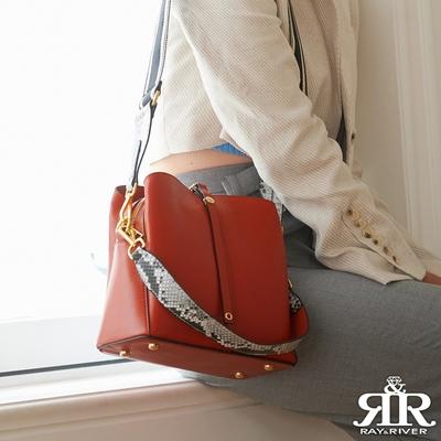 2R 頭層牛皮pillow方枕肩提飾帶包 漾橘紅