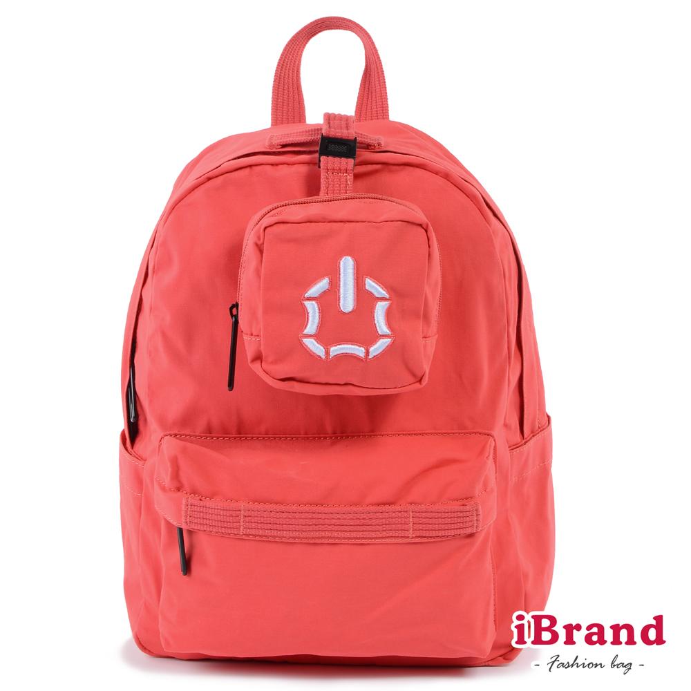 iBrand後背包 簡約素色輕旅行多功能後背包-紅色