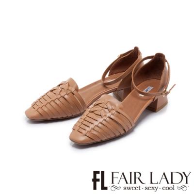 FAIR LADY 小時光 手工編織繫踝低跟涼鞋 蜜糖棕
