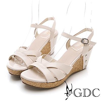 GDC-夏日交叉真皮楔型涼鞋-米杏色