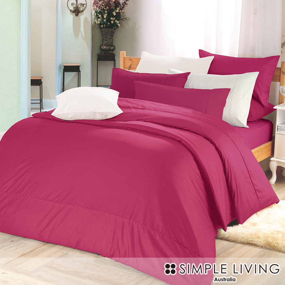 澳洲Simple Living 加大300織台灣製純棉床包枕套組(浪漫桃)