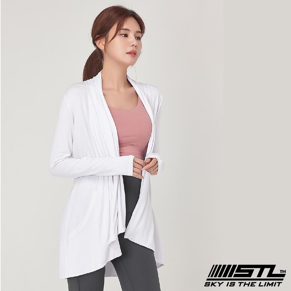 STL yoga Metro Cardigan 韓國瑜珈 運動開襟長版罩衫外套 白