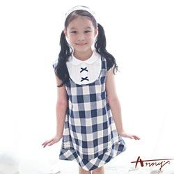 Annys氣質甜美大U領甲兩件式格紋洋裝*7304藍