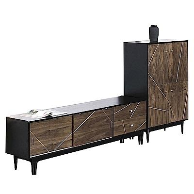 品家居 肯爾8.7尺木紋雙色L型電視櫃組合-262x40x122cm免組