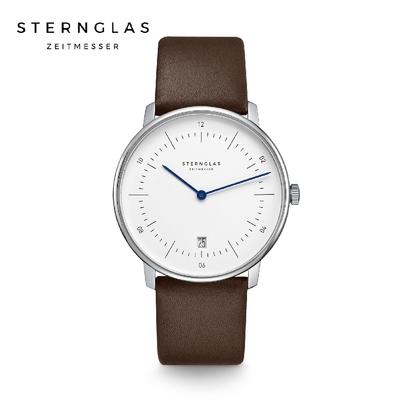 STERNGLAS 德國希丹格斯 S01-NA01-PR04 簡約時尚白盤文青石英錶(深棕錶帶) 38mm 男/女錶