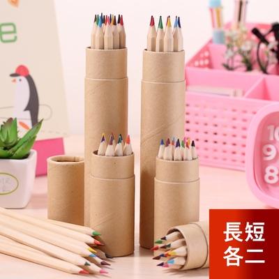 芬菲文創 12色原木色桶裝彩色鉛筆 六角桿環保色彩筆-長款2組+短款2組