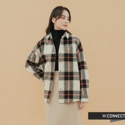 H:CONNECT 韓國品牌 女裝-造型格紋毛呢襯衫-棕
