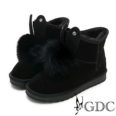 GDC-秋冬真皮可愛毛球小兔兔雪靴-黑色