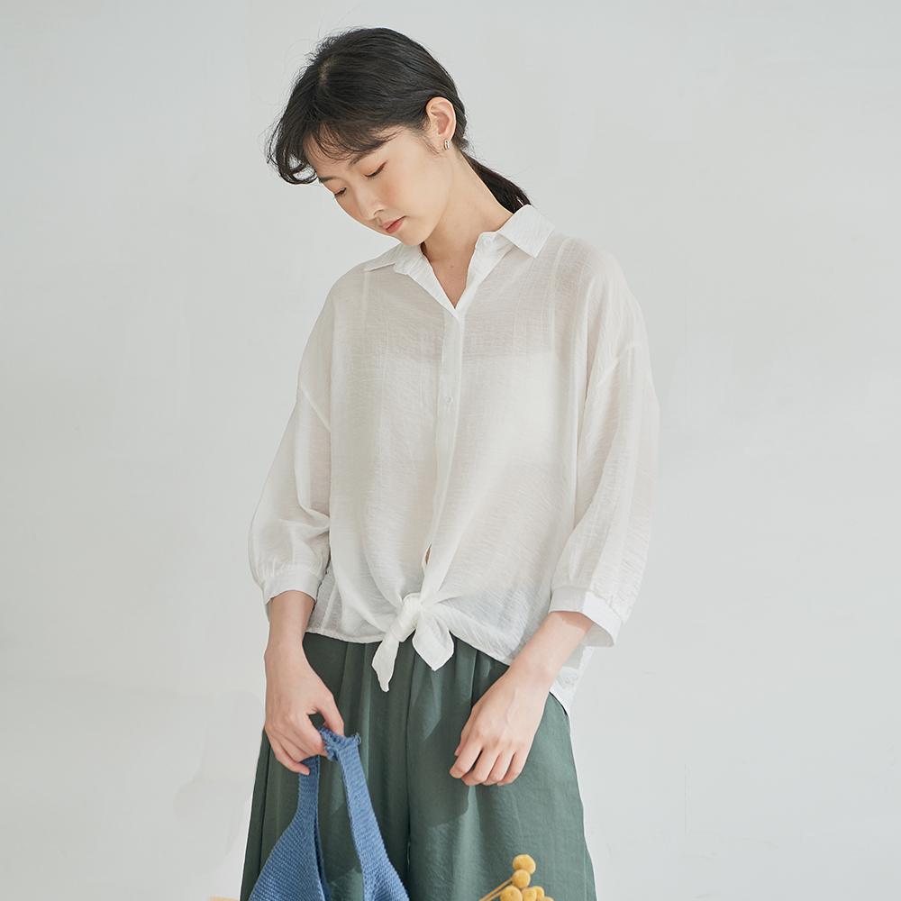 慢 生活 皺面肌理質感薄款襯衫- 粉/白