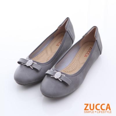 ZUCCA-圓頭金屬朵結氣墊平底鞋-鐵灰-z6512dg