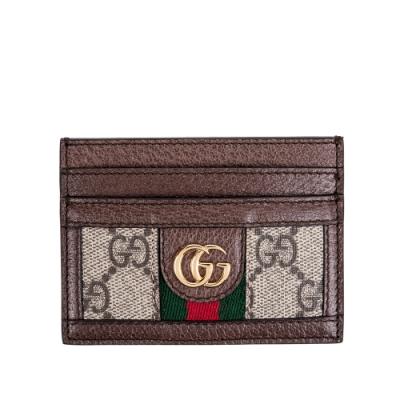 GUCCI 新款Ophidia GG 印花綠紅綠織帶皮革飾邊卡片夾 (棕色)