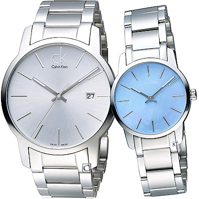 Calvin Klein 經典簡約時尚對錶(K2G2G146+K2G234X)白+藍