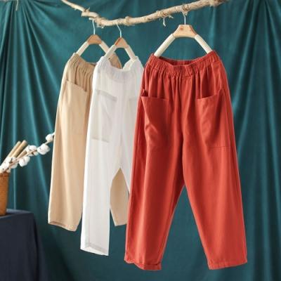 純棉鬆緊腰休閒褲顯瘦百搭七分哈倫褲子-設計所在