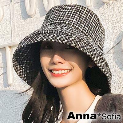AnnaSofia 千鳥格紋大寬簷 軟式漁夫帽盆帽(黑灰系)