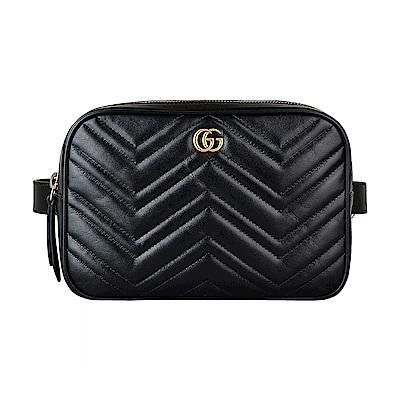 GUCCI Marmont系列經典GG金屬LOGO牛皮W字紋拉鍊腰包(黑)