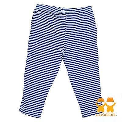【LOVEDO-艾唯多童裝】藍白條紋 兒童百搭長褲(白藍)
