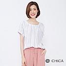 CHICA 漫遊海岸清新圖騰設計上衣(2色)