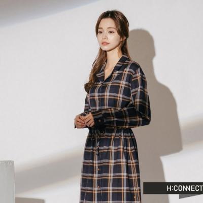 H:CONNECT 韓國品牌 女裝-格紋縮腰排扣洋裝-藍