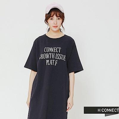 H:CONNECT 韓國品牌 女裝-休閒文字連身洋裝-藍