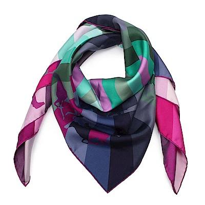 HERMES Galop Chromatique迷幻幾何漩渦系列絲巾-(綠色x桃色)