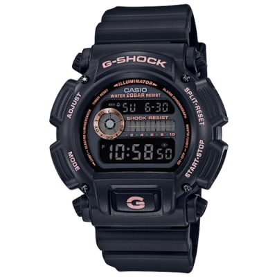 G-SHOCK 經典復刻玫瑰金耐衝擊運動錶(DW-9052GBX-1A4)-黑金/43mm