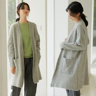 加厚高克重羊駝毛羊毛高級灰針織毛衣開衫慵懶設計所在