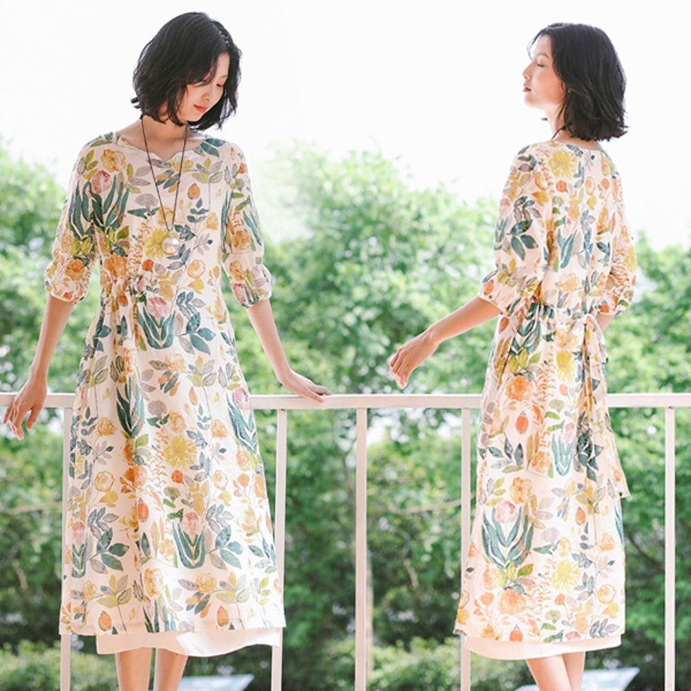洋裝-訂製亞麻花瓣袖印花碎花中袖長裙-設計所在