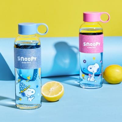 SNOOPY 史努比 小時光手提耐熱玻璃瓶500ml(快)