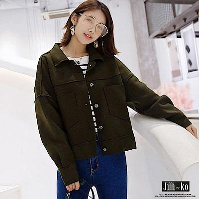Jilli-ko 韓版毛呢單排扣短夾克-深綠