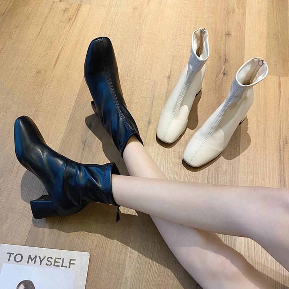 LN 復古氣質後拉鏈粗跟瘦瘦短靴-2色 @ Y!購物